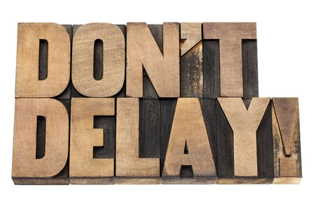 do not delay exclamation - procrastination concept  - isolated text in vintage letterpress wood type printing blocks Stock Photo - 17530185