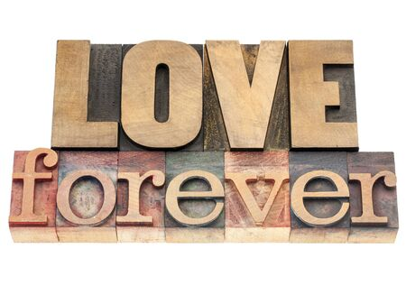 love forever  - isolated text in vintage letterpress wood type printing blocks Stock Photo - 17530186