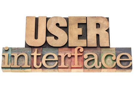 user interface  - isolated text in vintage letterpress wood type printing blocks Stock Photo - 17530184
