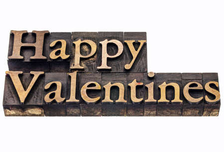 Happy Valentines  - isolated text in vintage letterpress wood type printing blocks Stock Photo - 17530168