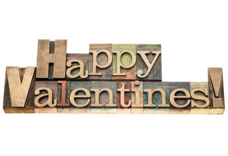 Happy Valentines  - isolated text in vintage letterpress wood type printing blocks Stock Photo - 17530169