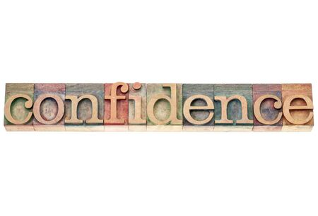 confidence word  - isolated text in vintage letterpress wood type printing blocks Stock Photo - 17530170
