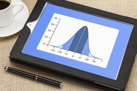 Gaussien, cloche ou courbe de distribution normale sur l'ordinateur de tablette numérique avec une tasse de café et un stylet