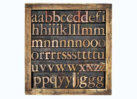letterpress blocks: wooden box of vintage letterpress alphabet printing blocks stained by color inks
