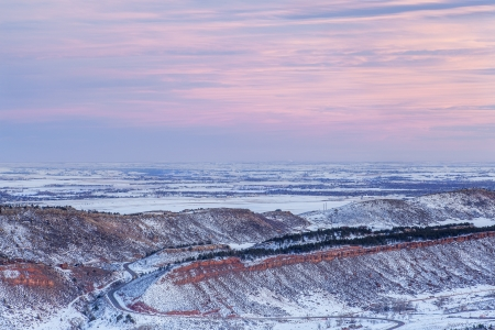 winter dusk over foothills of Rocky Mountains and prairies near Fort Collins, Colorado Stock Photo - 17668238
