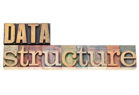 data structure - isolated text  in vintage letterpress wood type Stock Photo - 17806571