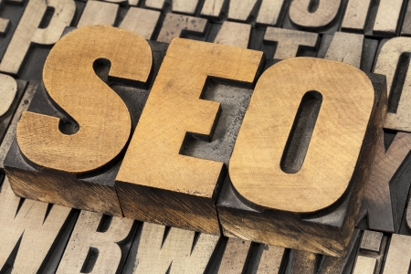 SEO (search engine optimization) acronym - text in vintage letterpress wood type Stock Photo - 17806575
