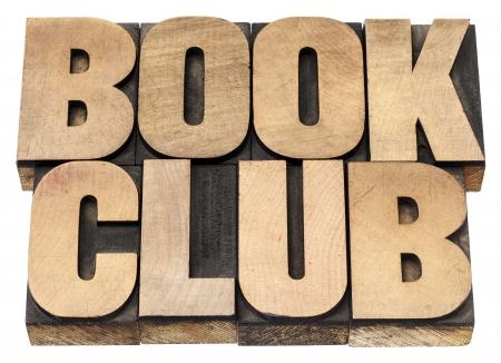책 클럽 - 빈티지 활자 나무 형식 인쇄 블록에서 격리 된 텍스트