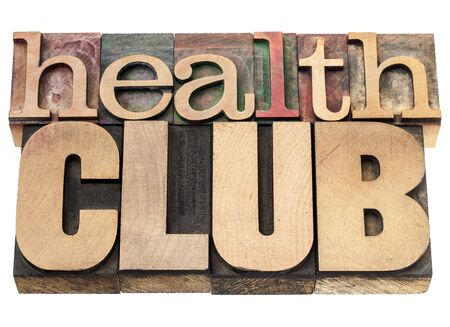 health club - isolated text in vintage letterpress wood type printing blocks Stock Photo - 17959939