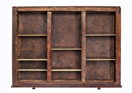 typesetter: vintage wood  printer  (typesetter) drawer with dividers, isolated on white