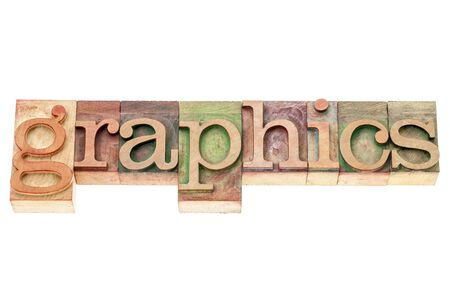 graphics word - isolated text in vintage letterpress wood type printing blocks Stock Photo - 17959940