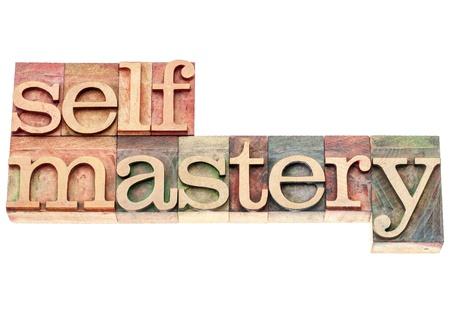 selfmastery ワード - ビンテージ活版木材の種類印刷ブロックの分離のテキスト
