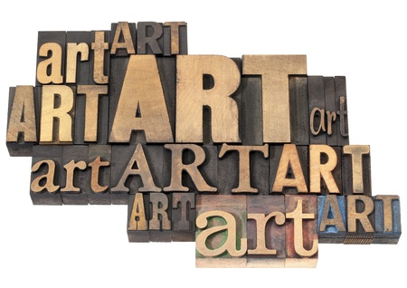 art word abstract - isolated text in a variety of vintage letterpress wood type printing blocks Stock Photo - 17959905