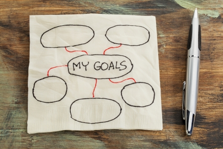 goal setting: my goals - setting goals concept - blank flowchart sketched on a cocktail napkin Stock Photo