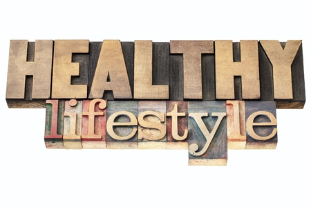 healthy lifestyle  - isolated text in vintage letterpress wood type printing blocks Stock Photo - 18083304