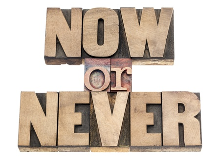 never: now or never - motivation phrase - isolated text in vintage letterpress wood type printing blocks