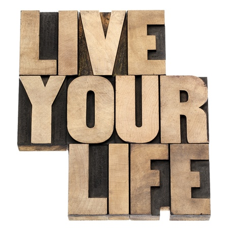 live your life phrase - isolated text in vintage letterpress wood type printing blocks Stock Photo - 18083312