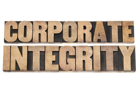 corporate integrity  - business ethics concept - isolated text in vintage letterpress wood type printing blocks Stock Photo - 18083320