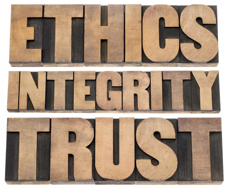 ethics, integrity, trust word - a collage of isolated text in vintage letterpress wood type printing blocks Stock Photo - 18083325