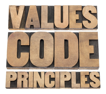 integridad: valores, códigos, palabras principios - un collage de texto aislado en bloques de madera de época impresión tipográfica de tipo