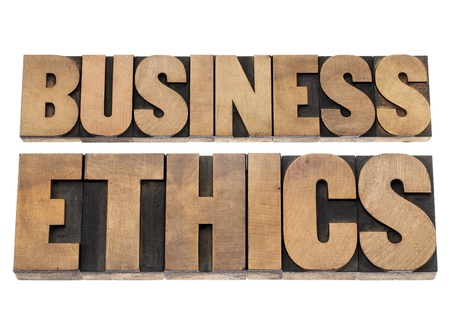business ethics: business ethics - isolated text in letterpress wood type printing blocks