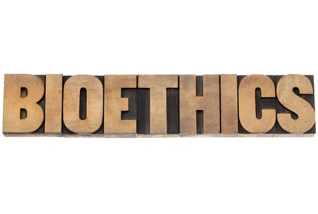 bioethics: bioethics word - isolated text in vintage letterpress wood type printing blocks Stock Photo