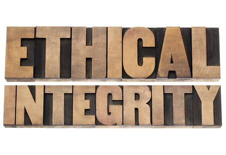 ethical integrity  - isolated text in letterpress wood type printing blocks Stock Photo - 18169263