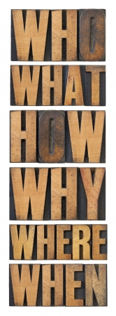 questions in wood type photo