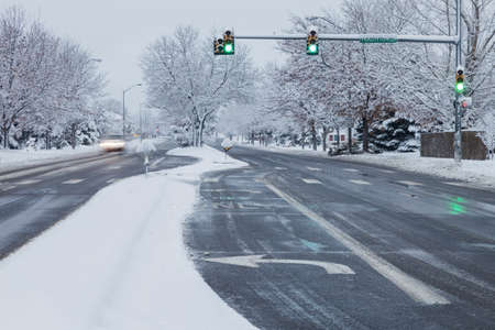 collins: winter snowstorm on streets of Fort Collins, Colorado