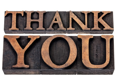 thank you  - isolated text in vintage letterpress wood type printing blocks Stock Photo - 18224158