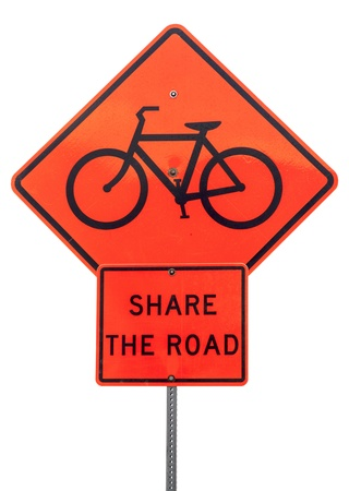 share the road with bicycles - orange traffic warning sign isolated on white Stock Photo - 18226598