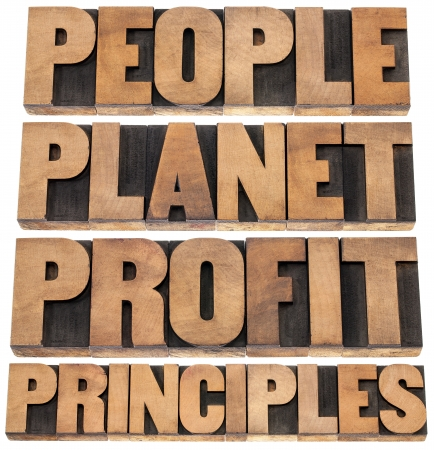 people, planet, profit, principles - sustainable business concept - isolated text in letterpress wood type printing blocks