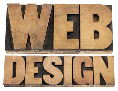 web design  - isolated text in letterpress wood type printing blocks Stock Photo - 18286919