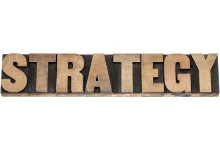 strategie - geïsoleerde woord in vintage boekdruk hout type cliches