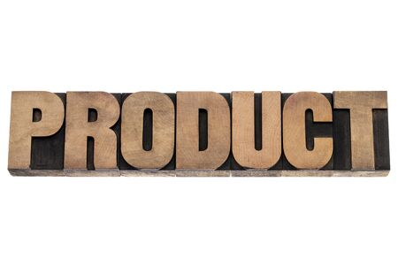 product - business concept - isolated word in vintage letterpress wood type printing blocks Stock Photo - 18413666