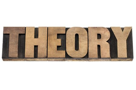 theory - science concept - isolated word in vintage letterpress wood type printing blocks Banco de Imagens