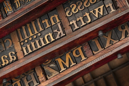 vintage typesetter drawers with letterpress wood type printing blocks Stock Photo - 18413692