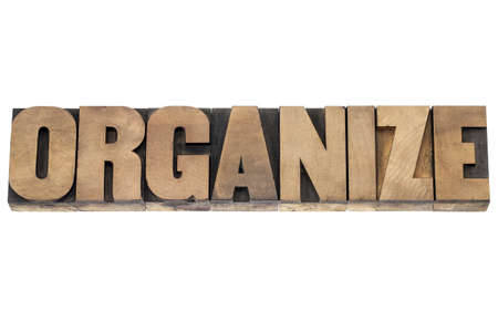 organize word  - isolated word in vintage letterpress wood type printing blocks Stock Photo - 18517338
