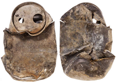 beer can: urban fossil - old crashed soda or beer can that spent years on a lake bottom