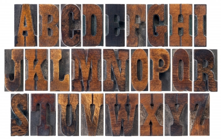 memorabilia: alphabet in vintage letterpress wood type blocks, French Clarendon font popular in western movies and memorabilia, a collage of 26 isolated letters Stock Photo