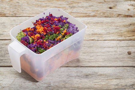 colorful juicer pulp after juicing raw vegetables (carrot, red beat, cucumber, kale, red cabbage) - a plastic cup against barn wood background