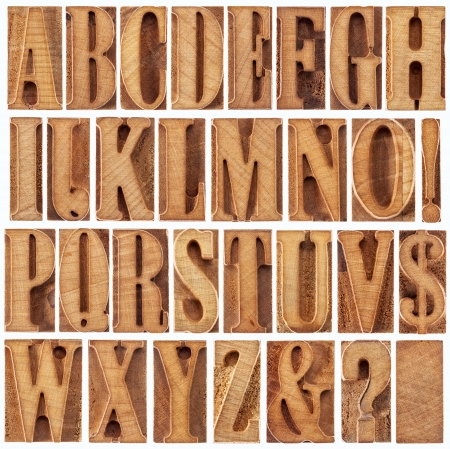 alphabet in modern letterpress wood type printing blocks (unused), a collage of 26 isolated letters, question mark, exclamation point, ampersand and dollar sign Stock Photo - 18792214