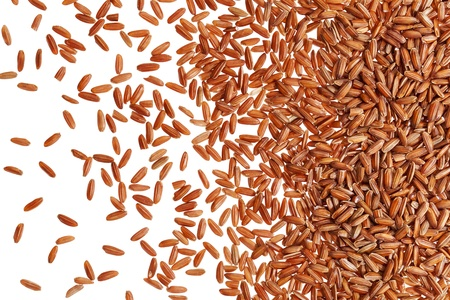 brown rice grain spread on white background - top view