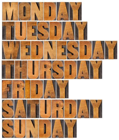 weekdays: seven days of week from Monday to Sunday in isolated vintage letterpress wood type printing blocks