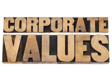 corporate values - business ethics and integrity concept - isolated text in vintage letterpress wood type printing blocks Stock Photo - 18879131