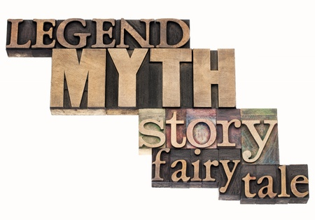 legend: legend, myth, story, fairy tale - isolated word abstract in vintage letterpress wood type printing blocks