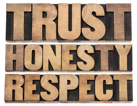 integridad: la confianza, la honestidad, el respeto - palabras aisladas en bloques de madera de época impresión tipográfica de tipo