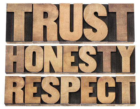 vertrouwen, eerlijkheid, respect - losse woorden in vintage boekdruk hout soort cliches