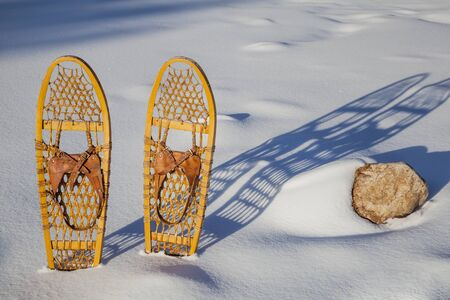 a pair of classic Bear Paw wooden snowshoes cast shadow in snow Stock Photo - 18879133