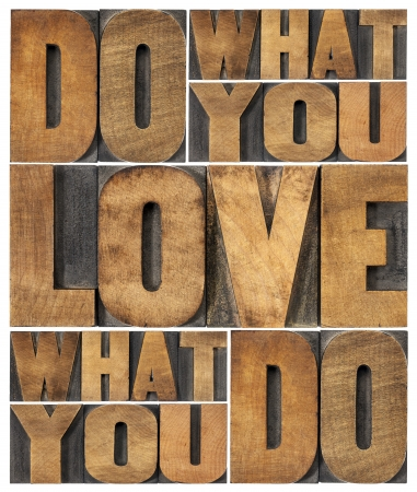 love words: do what you love, love what you do - motivational word abstract in vintage letterpress wood type printing blocks